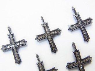 天然石卸 ダイヤモンド クロス モチーフ チャーム 15×13×1 Silver925製(BKロジウム) 1個2,580円!