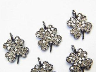 天然石卸 ダイヤモンド 四つ葉のクローバー チャーム 11×10×1.5 Silver925製(BKロジウム) 1個!