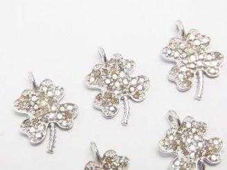 天然石卸 ダイヤモンド 四つ葉のクローバー チャーム 11×10×1.5 Silver925製(ロジウム) 1個!