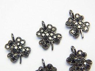 天然石卸 ブラックダイヤモンド 四つ葉のクローバーチャーム 11×10×1.5 Silver925製(BKロジウム) 1個!