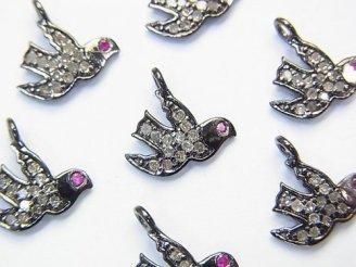 天然石卸 ダイヤモンド&ルビー ピジョン(鳩)モチーフ チャーム8×11×1 Silver925製(BKロジウム) 1個