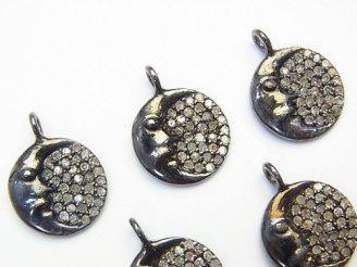 天然石卸 ダイヤモンド 月モチーフチャーム 12×12×2 Silver925製(BKロジウム) 1個3,980円!