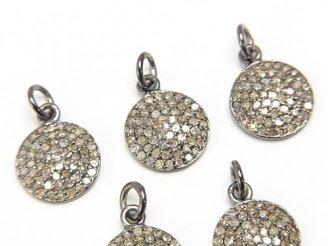 天然石卸 ダイヤモンド コイン型チャーム 10×10×1.5 Silver925製(BKロジウム) 1個4,980円!