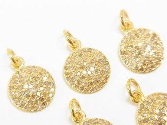 天然石卸 ダイヤモンド コイン型チャーム 10×10×1.5mm Silver925製(18KGP) 1個4,980円!
