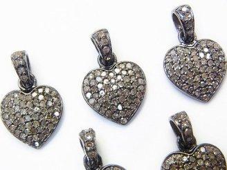 天然石卸 ダイヤモンド ハート チャーム 12×12×2mm Silver925製(BKロジウム) 1個!