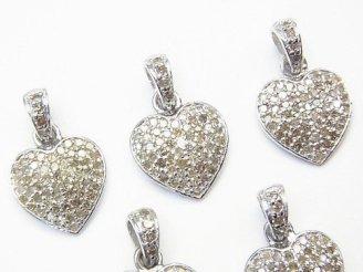 天然石卸 ダイヤモンド ハート チャーム 12×12×2 Silver925製(ロジウム) 1個!