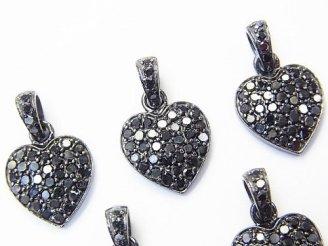 天然石卸 ブラックダイヤモンド ハート チャーム 12×12×2mm Silver925製(BKロジウム)