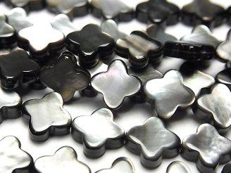 天然石卸 高品質ブラックシェル(黒蝶貝)AAA フラワーモチーフ10×10×3mm 1/4連〜1連(約38cm)