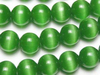 グリーンカラーキャッツアイ ラウンド10mm 1連(約36cm)