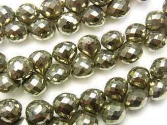 天然石卸 宝石質パイライトAAA オニオン ブリオレットカット 10粒〜1連(約20cm)