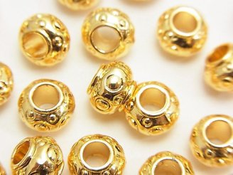 天然石卸 メタルパーツ ロンデル8×8×6mm ゴールドカラー 5個240円!