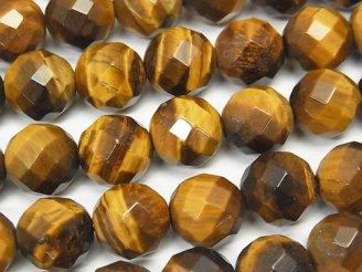 天然石卸 イエロータイガーアイAA++ 64面ラウンドカット12mm 半連/1連(約36cm)