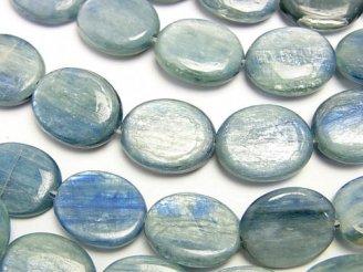 天然石卸 1連1,680円!ケニア産カイヤナイトAA+ オーバル18×14×4 【ブルーグリーン】 1連(約37cm)