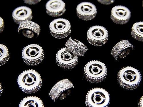 メタルパーツ ロンデル6×6×3mm シルバーカラー(CZ付) 3個