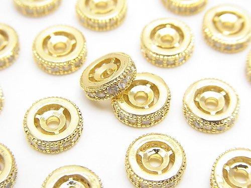 メタルパーツ ロンデル8×8×3mm ゴールドカラー(CZ付) 2個