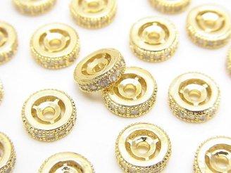 天然石卸 メタルパーツ ロンデル8×8×3mm ゴールドカラー(CZ付) 2個380円!