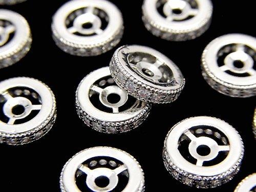 メタルパーツ ロンデル10×10×3mm シルバーカラー(CZ付) 2個