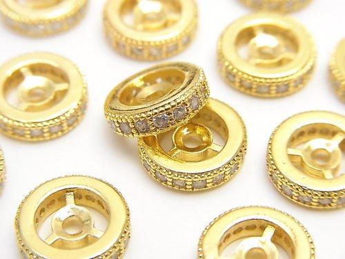 メタルパーツ ロンデル10×10×3mm ゴールドカラー(CZ付) 2個