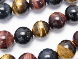 天然石卸 高品質タイガーアイAAA 3色ミックス ラウンド12mm 1/4連〜1連(約38cm)