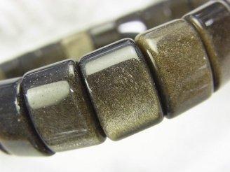 天然石卸 ゴールデンシャイン オブシディアンAAA 2つ穴レクタングル15×10×6 1連(ブレス)