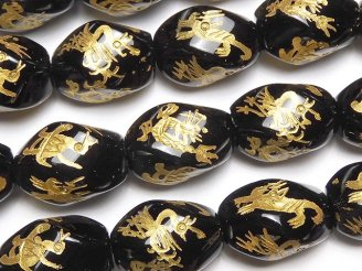 天然石卸 金色!四神獣の彫刻入り!オニキス ツイストライスカット18×13×13mm 1/4連〜1連(約36cm)