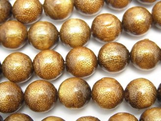 天然石卸 ゴールデンコーラル(金珊瑚) ラウンド10mm 1/4連〜1連(約38cm)