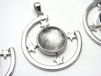 天然石卸 メテオライト(ムオニナルスタ隕石) ペンダントトップ28×28×6mm 星型枠付き SILVER925