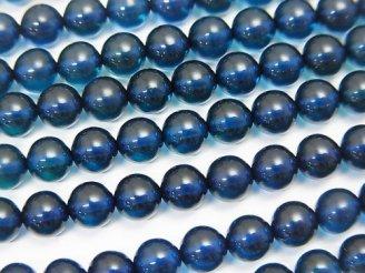 天然石卸 ブルーカラーアンバー(琥珀) ラウンド5mm 1/4連〜1連(約38cm)