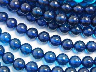 天然石卸 ブルーカラーアンバー(琥珀) ラウンド5.5mm 1/4連〜1連(約38cm)