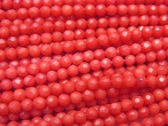 天然石卸 1連880円!赤珊瑚・レッドコーラル(染) ラウンドカット3〜3.5mm 1連(約38cm)
