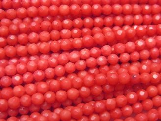 1連680円!赤珊瑚・レッドコーラル(染) ラウンドカット3mm 1連(約38cm)