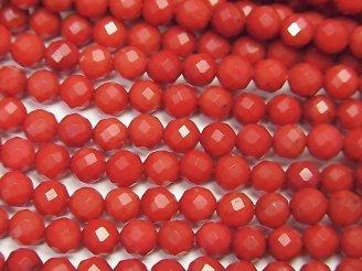 天然石卸 1連680円!赤珊瑚・レッドコーラル(染) 32面ラウンドカット4mm 1連(約38cm)