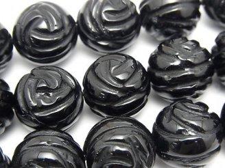 天然石卸 オニキスAAA ラウンドローズ(薔薇)カット16mm 1/4連〜1連(約35cm)
