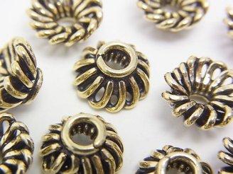 天然石卸 ブラス(真鍮) ビーズキャップ10×10×5 いぶし仕上げ 半連/1連(約18cm)