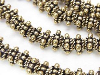 天然石卸 ブラス(真鍮) ロンデル7×7×5 いぶし 半連/1連(約17cm)