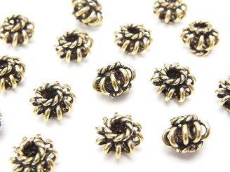 天然石卸 ブラス(真鍮) ロンデル9×9×6mm いぶし仕上げ 半連/1連(約18cm)