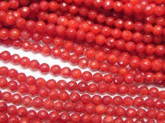 天然石卸 1連980円!赤珊瑚・レッドコーラル(染) 極小ラウンドカット2mm 1連(約38cm)