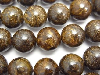 天然石卸 ブロンザイトAAA 大粒ラウンド12mm 半連/1連(約35cm)