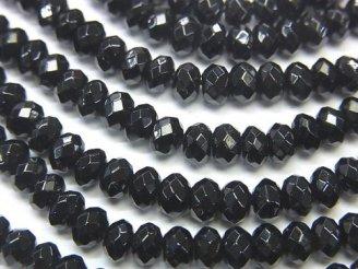 天然石卸 ブラックスピネルAAA〜AAA- ボタンカット5×5×3 半連/1連(約38cm)