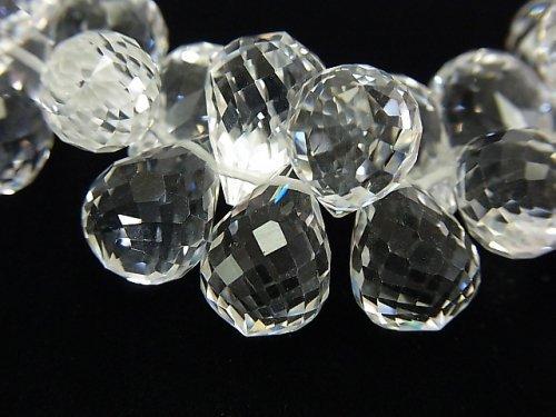 素晴らしい輝き!宝石質クリスタルAAA ドロップ ブリオレットカット 13×9×9mm 8粒・1連(ブレス)