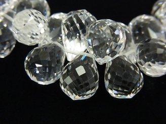 天然石卸 素晴らしい輝き!宝石質クリスタルAAA ドロップ ブリオレットカット 13×9×9mm 8粒・1連(ブレス)