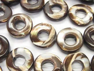 天然石卸 1連980円!マザーオブパール ブラウン コイン(ドーナツ)15×15×4mm 1連(約38cm)
