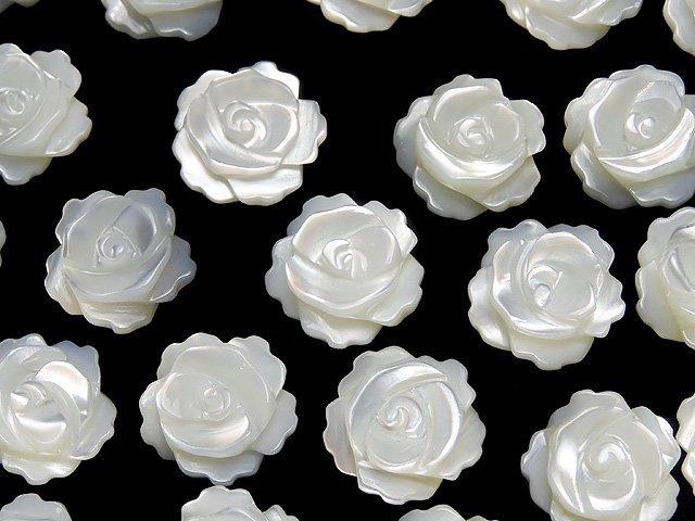 【動画】マザーオブパール ホワイト 薔薇10mm 【片穴】 4粒