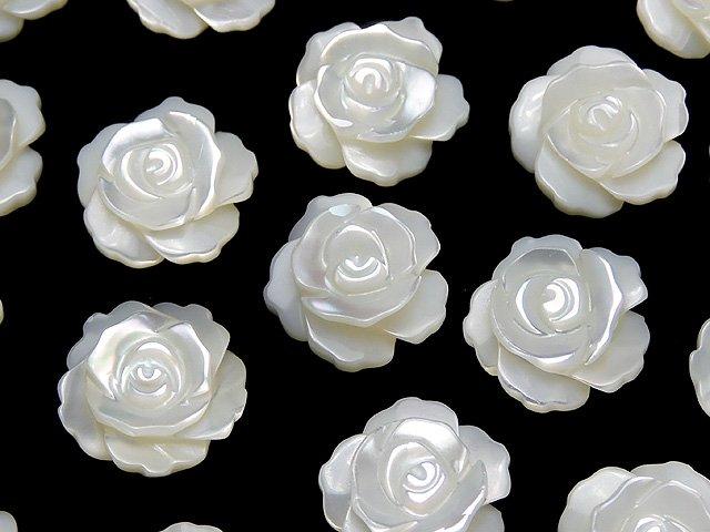 マザーオブパール ホワイト 薔薇12mm 【片穴】 4粒