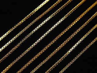 天然石卸 14KGF ボックスチェーン ネックレス 約0.7mm幅 【40cm】【45cm】【50cm】 1本