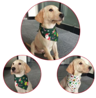 【クリスマスバンダナ】ペット用 首輪 調節可能なバンダナスカーフ