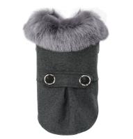 【高級 暖か コートジャケット】グレー 毛皮 ドックウェア ジャケット