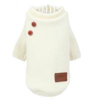 【おしゃれボタン付き 縦ライン セーター】ニット アイボリー クリーム色