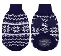 【雪柄ニット 波模様 ハイネック】ペット用 セーター 雪模様 タートルネック
