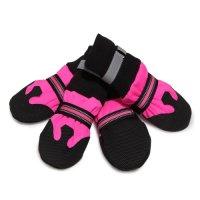【大型犬用  ブラック×ピンク】ペット用 スノーブーツ 1足セット(左右セット) マジックテープ 靴下型 反射板付き ピンク×ブラック